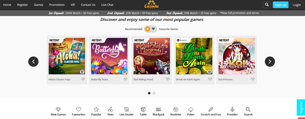 Casimba Casino Website